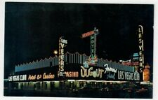 1960's Las Vegas Club Casino Hotel Casino The Dugout Nv Postcard Vtg Night Neon