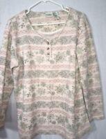 Classic Elements blouse Womens Size M Knit Shirt Long Sleeve Beige Print