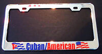 CUBAN AMERICAN CUBA CHROME HEAVY DUTY License Plate Frame Tag Holder