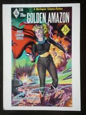 POSTCARD  HELLCAT AMAZONS - BOOK COVER - THE GOLDEN AMAZON