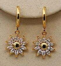 18K Yellow Gold Filled - SunFlower Clear Teardrop Topaz Zircon Party Earrings