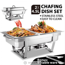 2 X 4.5L Bain Marie Bow Chafing Dishes Stainless Steel Buffet Warmer Stackable