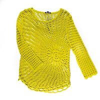 NEW Marble Yellow Loose Fish Net Knit Long Sleeve Pullover Sweater Blouse Shirt