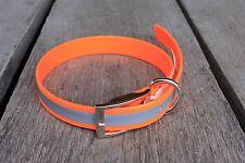 "1"" Plastic Coated Nylon Bright Orange Reflective Dog Collar Made In USA"