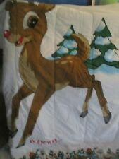 Rudolph Red Nosed Reindeer Island Misfit Toys QUEEN Comforter Blanket Christmas