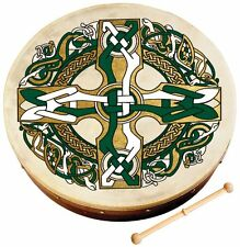 "Walton's 8"" Diameter Celtic Cross Pattern Irish Bodhrán Bodhran  Drum and Beater"
