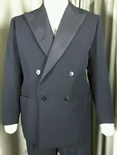 Vintage 50s Bespoke Double Breasted Satin Lined Dinner Suit C38 W32 L33