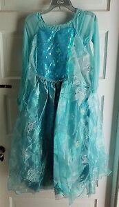 Disney Store Frozen Elsa Costume Girls Kids Halloween Dress Up 9 10 Princess