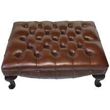 Fine English Sandringham Chesterfield Style Bespoke Tan Brown Leather Footstool