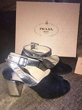 Prada Black and Silver Block Heel Peep Toe Sandals Uk 6 Eu 39