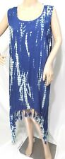 Riviera Sun Women Plus Size 2x Semi Sheer Indigo Blue Asym Gypsy Sundress Sequin