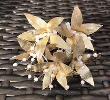 5 Boda Baile de graduación oro Lily Flor Cabello Pins apretones hechas a mano