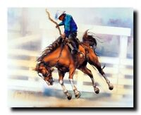 Western Rodeo Cowboy Riding Horse Home Decor Art Print Poster (16x20)