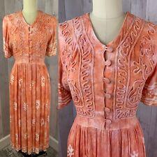 Vintage 70-80s Dress Gauze Hippie Hippy Boho Festival Tye Die�Tangerine M