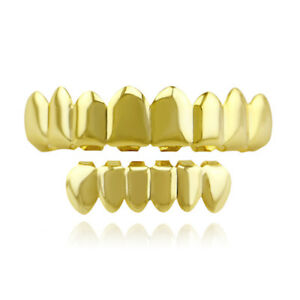 Fit Hip Hop Grills 8 Top 6 Bottom Set 18K Gold Silver Plated Bling Teeth Grillz