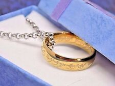 """Lord of The Rings Gold Etched Ring & 22"""" Rolo Necklace Set, W/Gift Box!"""