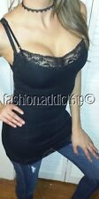 Sexy Black Flattering Stretch Slim fit Low cut Lace Long Layering cami Tank Top