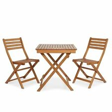 Garden Table and Two Chairs Folding Furniture Wooden Bistro Set