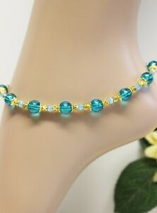 Glass Stone Jewellery XXL Gold Anklet Chain Turquoise Strand Beach Summer #KA022