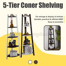 5 Tier Stylish Corner Ladder Shelving Unit Wall Leaning Bookcase Storage