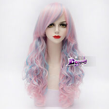 65cm Pink Mixed Blue Curly Hair Rainbow Gothic Lolita Cosplay Drag Race Wig