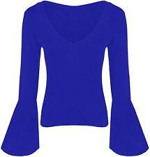 Womens Flare Long Sleeve V Neck Viscose Tops 8-22 Royal Blue 16-18