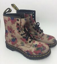 Womens Dr Doc Martens Sz 7 L Air Wair Boots Tan Pink Floral Victorian Lace-Up