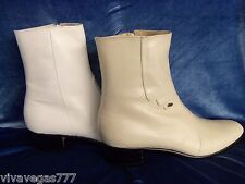 Elvis OFF-WHITE 100% Leather Zip-Up Boots (Tribute Artist Costume) Jumpsuit Era