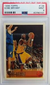 1996 96 TOPPS Kobe Bryant ROOKIE RC #138, Los Angeles Lakers, Graded PSA 9 Mint