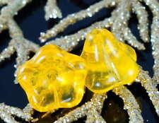 Large Clear Yellow Bell Flower Czech Glass Beads Bohemian 11mm x 13mm 6pcs