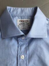 "T M Lewin Shirt 16"" Blue Cufflink Cuff Luxury Slim Fit"