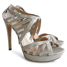 NEW $768 FENDI Leather Strappy Platform Sandals - Silver - Size 41