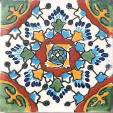 C#032) MEXICAN TILES CERAMIC HAND MADE SPANISH INFLUENCE TALAVERA MOSAIC ART