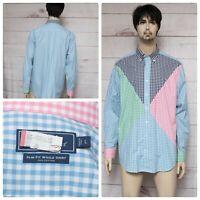 VINEYARD VINES Men's Slim Fit Tucker Shirt Gingham Pink Blue Green EUC Sz LARGE