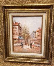 "Vintage Original Oil Painting Paris Street/Parisian Images Signed Burnett 15.5"""