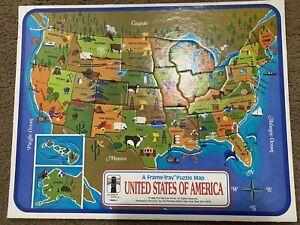 Vintage 1968 U.S. Map Frame Tray Puzzle Sealed - United States - Rainbow Works