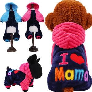 Pets Dog Puppy Fleece Coat Hoodie Winter Warm Jacket Clothes I Love Mama Papa