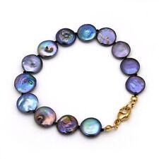 ANTHRAZIT ● 10mm ● Zucht Perlen Scheiben Armband + ygf 14k Gold 585 (HG 17cm)