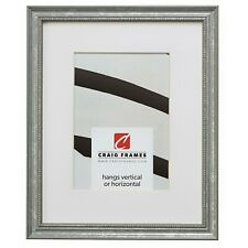 """Craig Frames .75"""" Wide Beaded Aged Silver Wood Picture Frame With a Single Mat"""