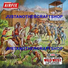 Airfix Salvaje Oeste Fort 2nd edición Ho-OO década de 1970 Poster Tienda Letrero Anuncio Caja obra de arte