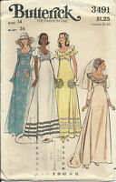 B 3491 sewing pattern 70's A-line Wedding DRESS Bride GOWN sew FAB size 14 UNCUT
