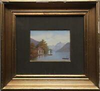 Gouache Alpensee mit Booten und Architektur 19. Jahrhundert Anonym 26,5 x 29 cm