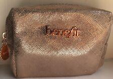 "Benefit Cosmetics Zip Up Small Rose Gold Shimmer Makeup Bag Make Up 6"" x 4"" x 2"""