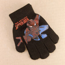 Kids Girls Boys Spiderman Spidey Black Stretch Knitted Gloves Acrylic Winter