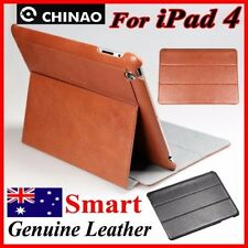 Premium CHINAO Genuine Leather Case For iPad 4 4th Gen(BROWN,SMART Pouch Cover)