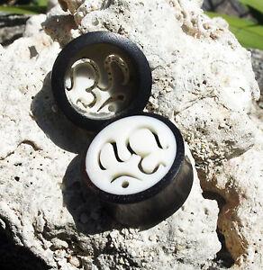"""Pair Bone Inlay Ebony Wood Ohm Symbol Ear Plug Tunnel Hand Carved Crafted 0g-1"""""""