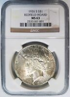 1926 S Silver Peace Dollar NGC MS 63 Redfield Hoard Collection Pedigree Toned
