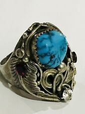 Vintage Althea Latome (Al) Navajo 925 Silver Turquoise Ruby Wide Ring Size 10.5