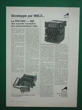 9/1979 PUB MBLE EMETTEUR HF PRC/VRC-600 PRC-610 RADIO ARMEE BELGE  FRENCH AD