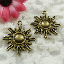 Free Ship 30 pieces bronze plated sun charms 28x25mm #639